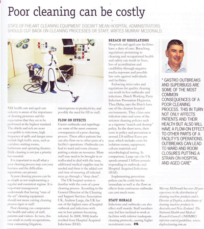 an article presenting the case for the importance of strict cleaning and hygiene, within aged care hospitals and healthcare facilities for the elderly
