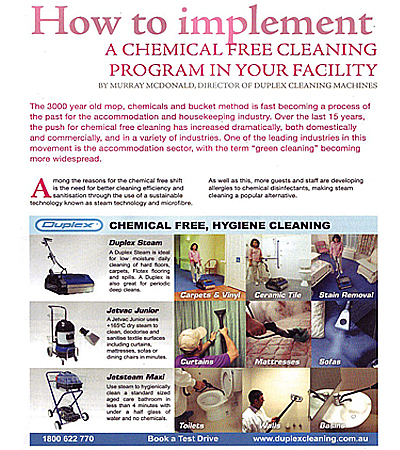 an article in exeutive housekeeper magazine, discusses the steps needed to implement a chemical-free cleaning program within aged care and facilities for the elderly