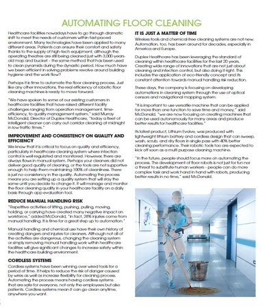 Automating Floor Cleaning in Healthcare industry