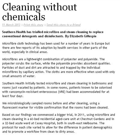 An article published in AgedCare InSite concerned with cleaning without chemicals- achieving outstanding results in a chemical-free cleaning environment